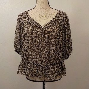 American Living Floral Blouse String Waist Brown M
